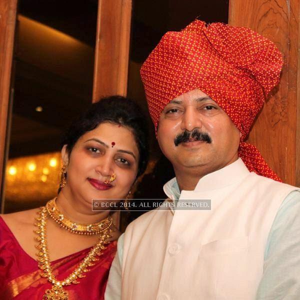 Krutika and Sachin Durugkar at Sonam and Akshay Deshpande's  wedding ceremony at Swagat Lawns in Nagpur.