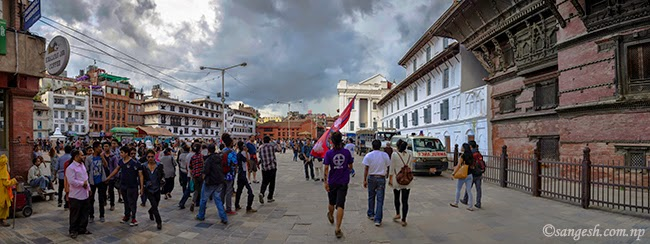Wide angle photo taken in front of 9 storey temple at Basantapur