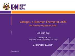 beamer template for powerpoint - malaysian latex user group gelugor a usm beamer theme
