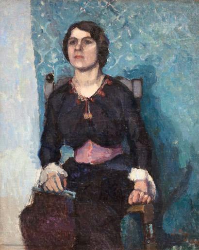 Jean Puy - Eugénie Frémissard sur fond bleu, circa 1905