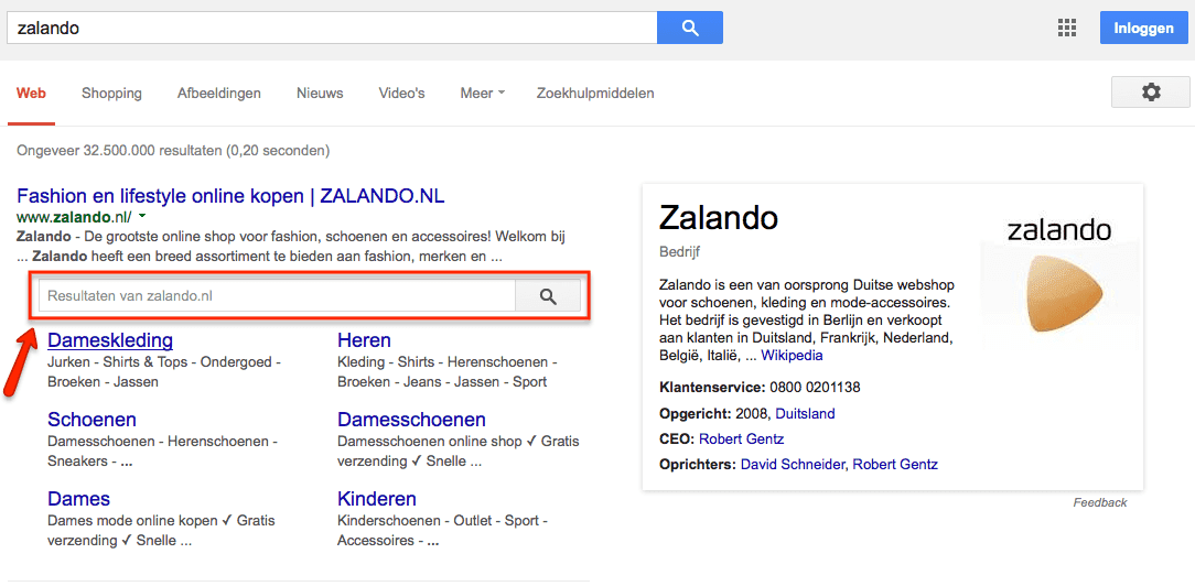 Sitelinks Search Box voor Zalando