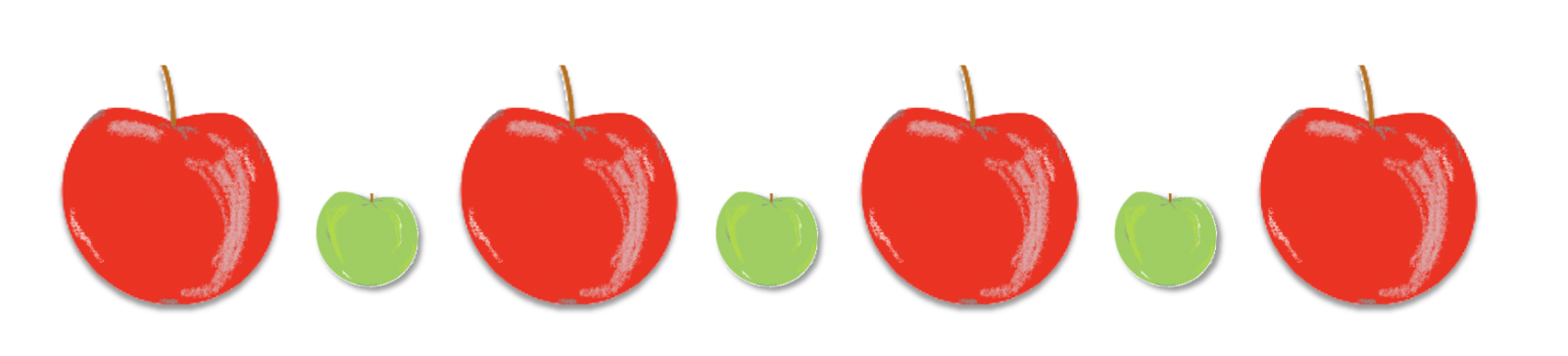 7 apples in a row. First, a big red one. Next, a small green one. Then a big red one. Next, a small green one. Then a big red one. Next, a small green one. Last, a big red one.