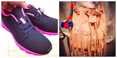 Zapatillas de. Primark por 13 € y bolsito tipo saco de Zara de niños