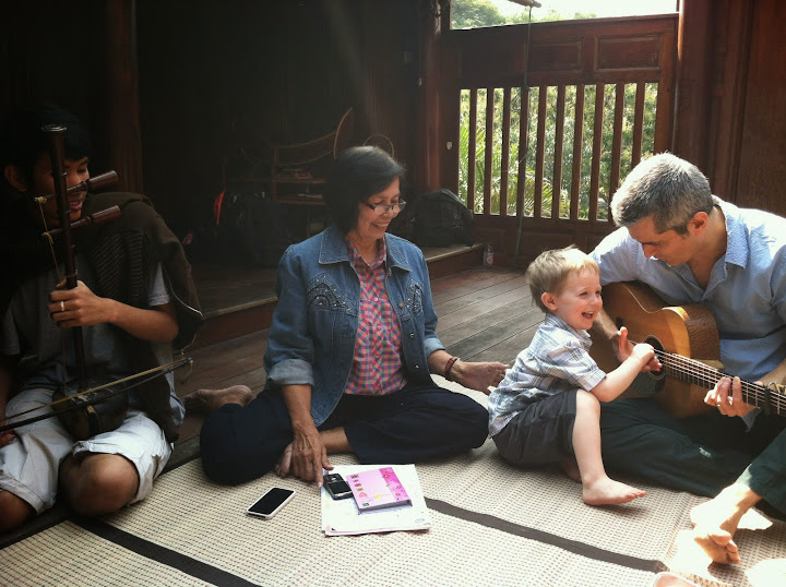Playing music today with my teacher who started me out in 1988!!! (this time with my husband and young son in tow...). Shannon Heaton in Thailand, where she studied abroad in High School