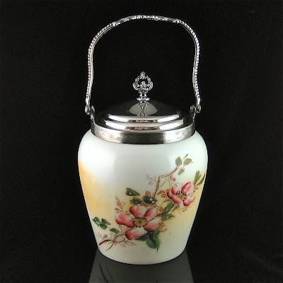 CF Monroe Apple Blossoms Decorated Wavecrest Biscuit Jar and Ven Bergh Silver Lid