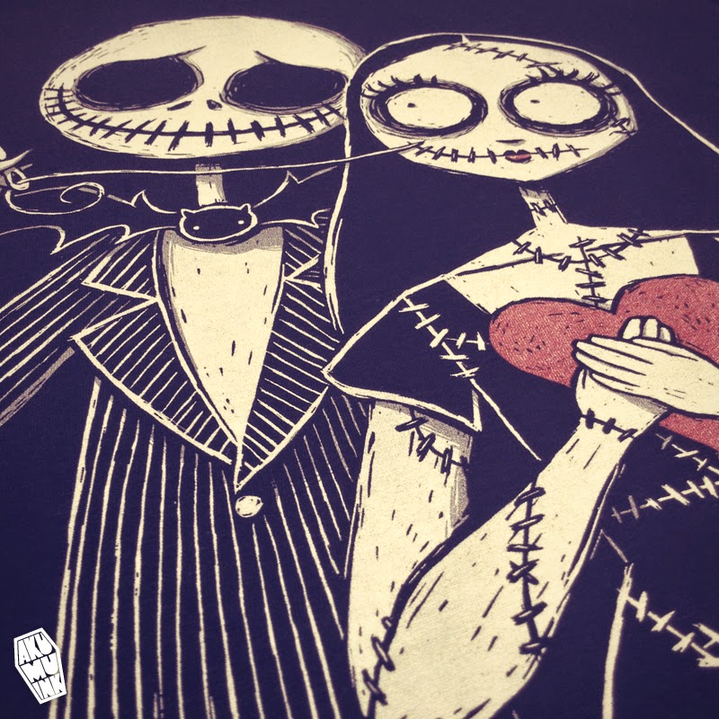 jack and sally, nightmare before christmas fanart, nightmare before xmas, jack sally love, love you sew much