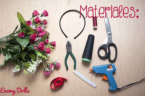 Tutorial DIY Diadema o corona de flores - Materiales - Enemy Dolls