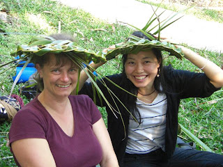 making palm frond hats