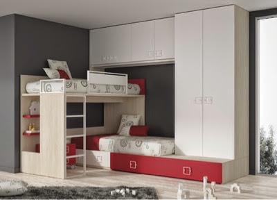 Dormitorio con litera cruzada,puente y armario