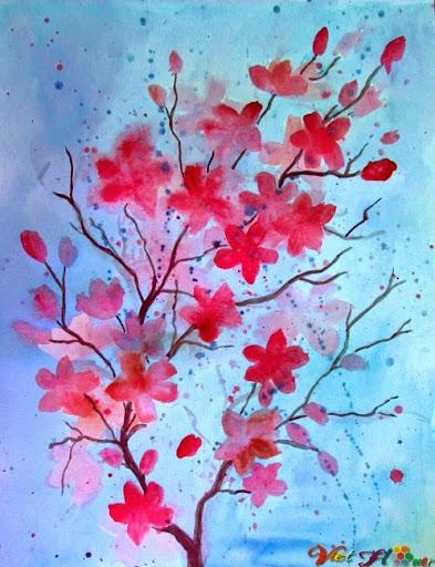 vẽ hoa anh đào bằng màu nước (Bước 9)