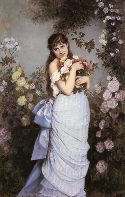 Auguste Toulmouche - A Young Woman in a Rose Garden