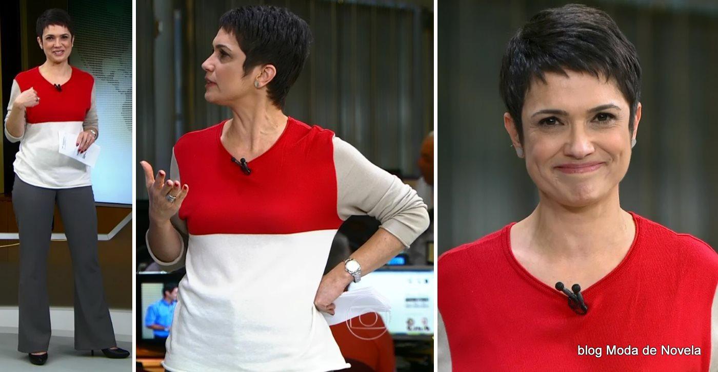 moda do programa Jornal Hoje - look da Sandra Annenberg dia 7 de julho