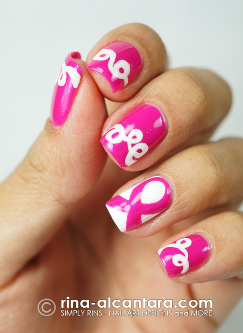 Pink Ribbon and Loops Nail Art for Breast Cancer Awareness Month