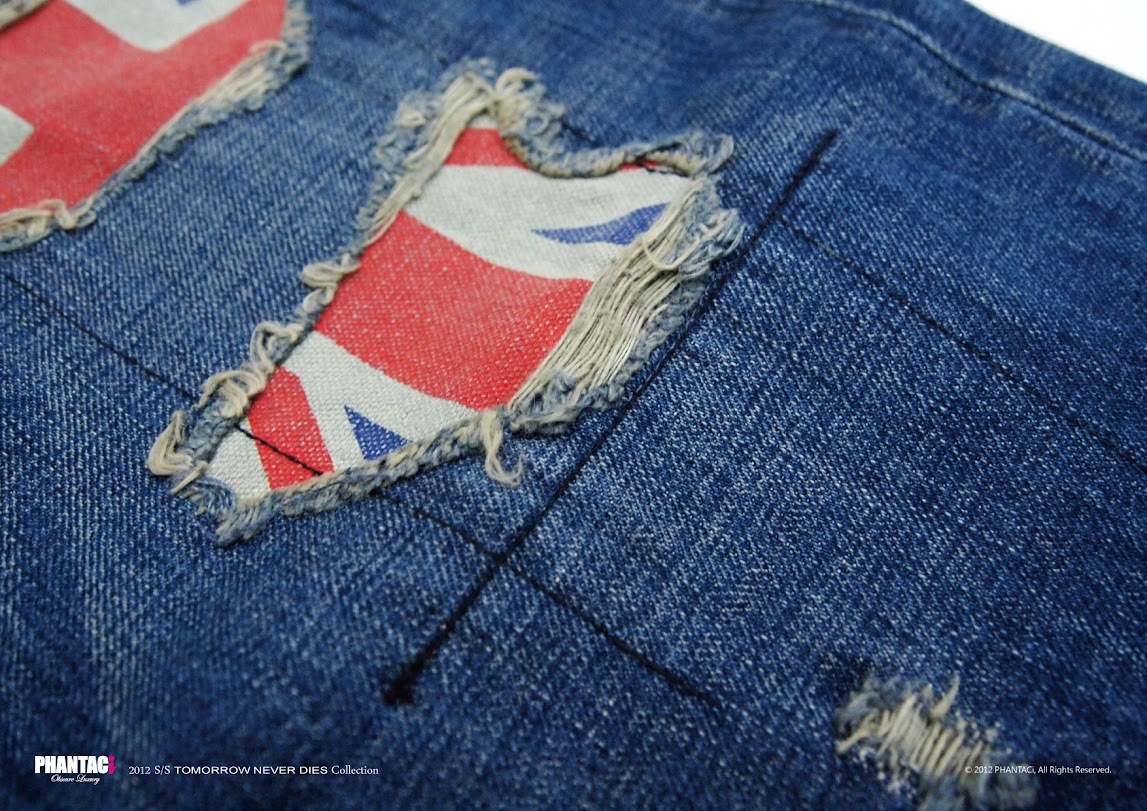 *PHANTACi英倫風旗幟限定褲 :U.K. Flag Destroyed Denim 2