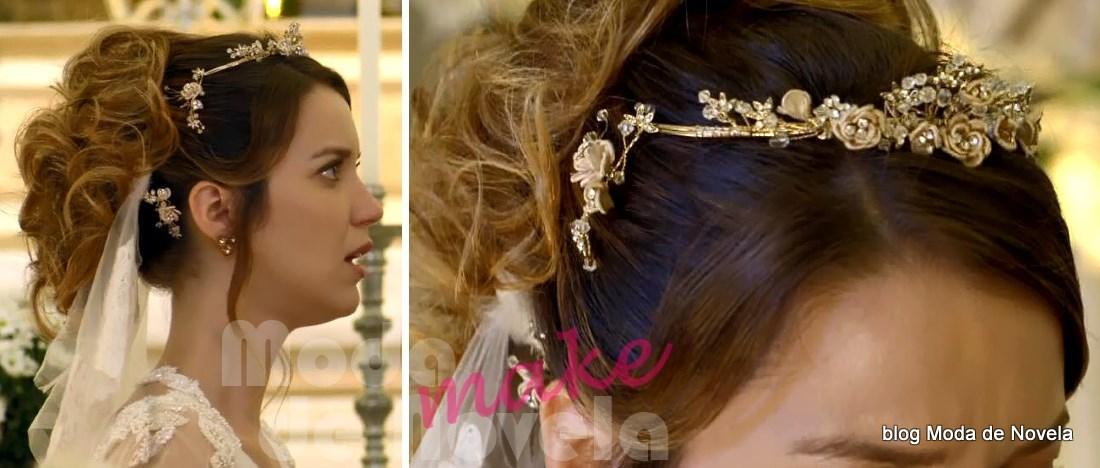 moda da novela Alto Astral, maquiagem de noiva da Laura