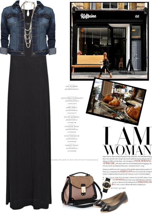 Maxi haljina i teksas jakna (pogodno i za trudnice)