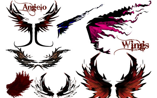 grungy wings photoshop brushes
