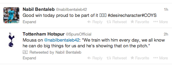 Nabil Bentaleb hails Tottenhams character & desire on Twitter after Palace win