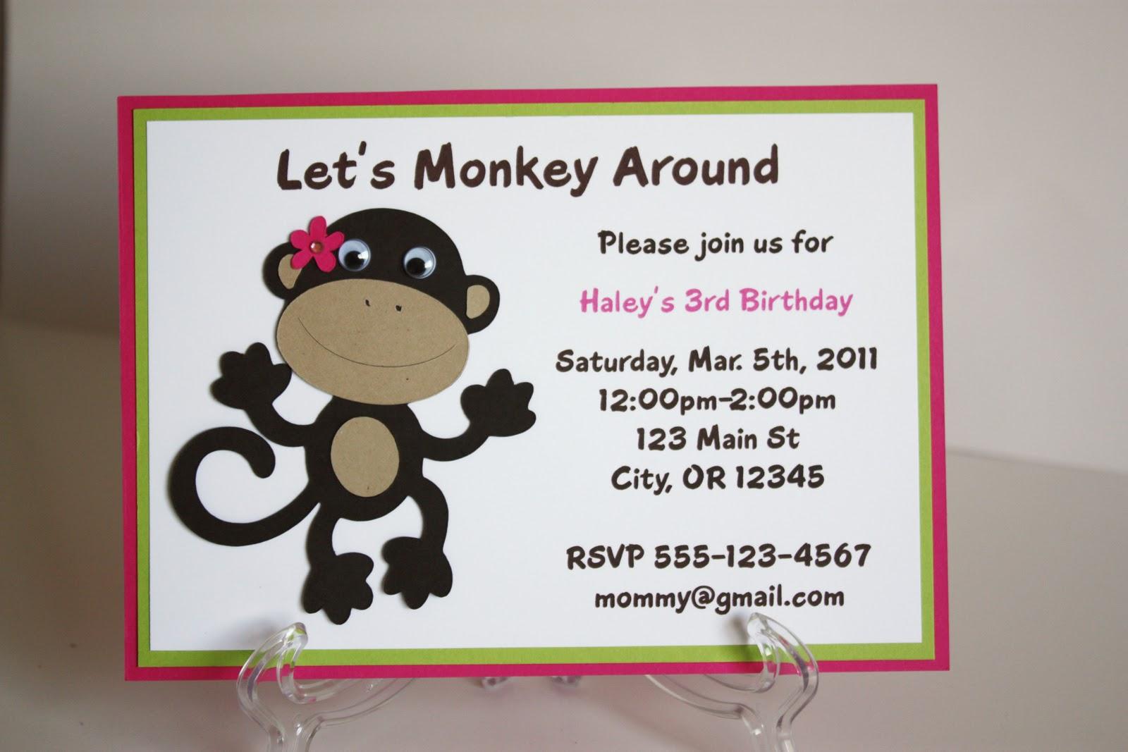 5M Creations: Monkey Birthday Party Set- girl version