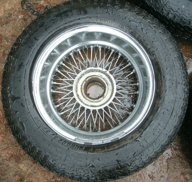 Jaguar XKE V12 E Type 72 Spoke Chrome Wire Wheels Tires Dunlop Rims 6JKX15X20