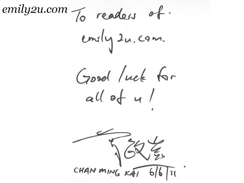 YB Chan Ming Kai autograph