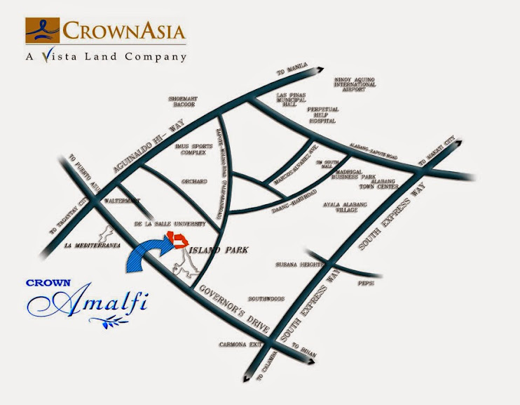 Vicinity Map Location Amalfi at The Islands - Designer 110 | Crown Asia Prime House for Sale Dasmarinas Cavite
