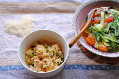 steamed rice with peas wolfberries cheese recipe by ServicefromHeart
