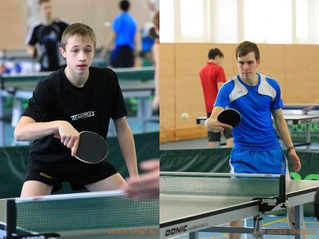 Победители турнира по настольному теннису в Угличе: Яковлев Александр и Гришин Максим