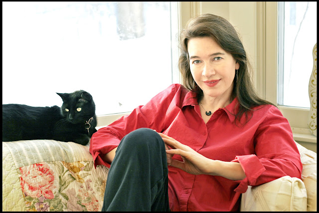 Louise Erdrich and a cat