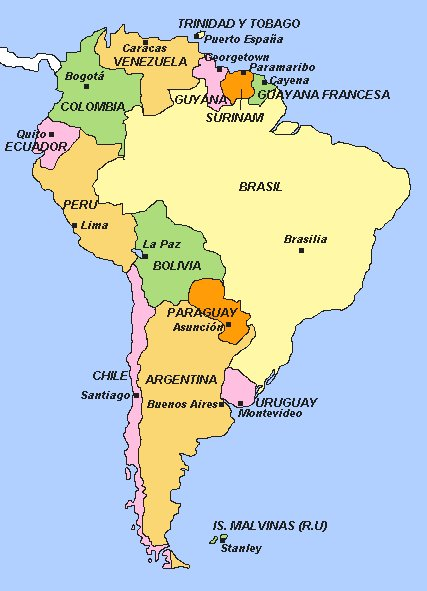Mapa de america paises y capitales - Imagui