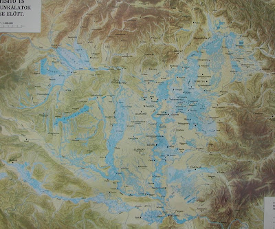 Water-covered part of the Carpathian Basin before the regulations of the rivers