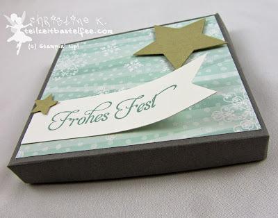 Stampin' Up! Weihnachten, Christmas, Pizza Box, DSP Stille Nacht, DP All is calm, Stars, Sterne, Banner, Wunderbare Weihnachtsgrüße