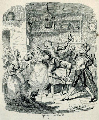 Ilustraciones y dibujos en las obras de Dickens - George Cruikshank. Tom Twigger in the kitchem of Mudfog house. En The Mudfog Papers