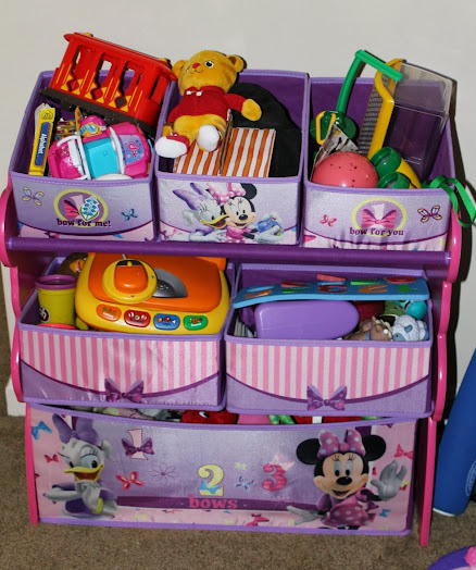 Store Toys from Toddler Clean Up Games in a Minnie Mouse Toy Bin