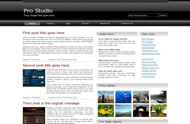 silver black business css website theme template