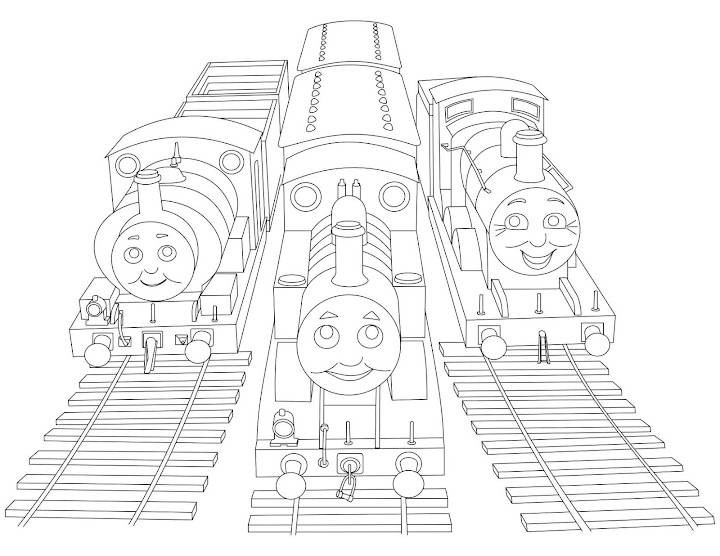 Thomas, Percy, and James Coloring Page
