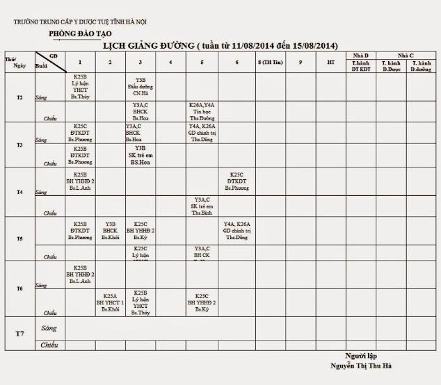 Lịch học từ 1108/2014 đến 17/08/2014