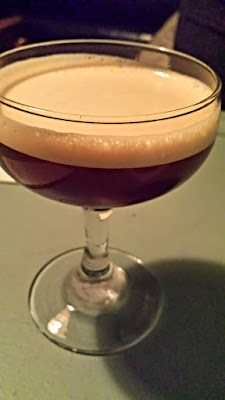 Cocktails at Pépé Le Moko: Espresso Martini,  described simply as Stumptown Coffee extract,  Kahlua, overproof vodka and lemon oil