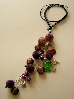 biżuteria z półfabrykatów - wisior w fiolecie