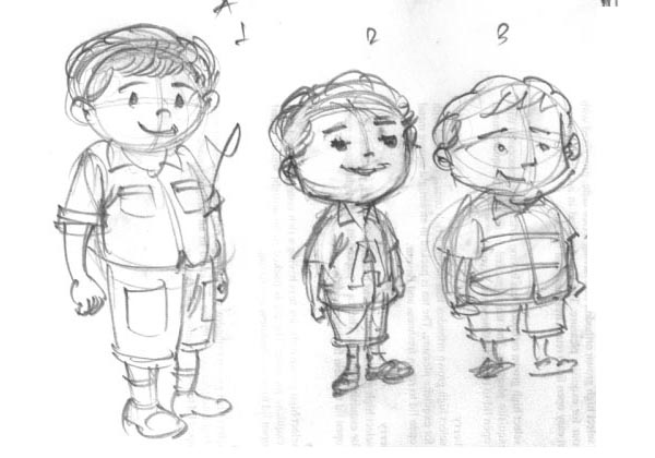 aritra little boy cartoon sketch