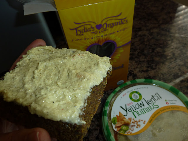 lydia's sunflower bread + hummus