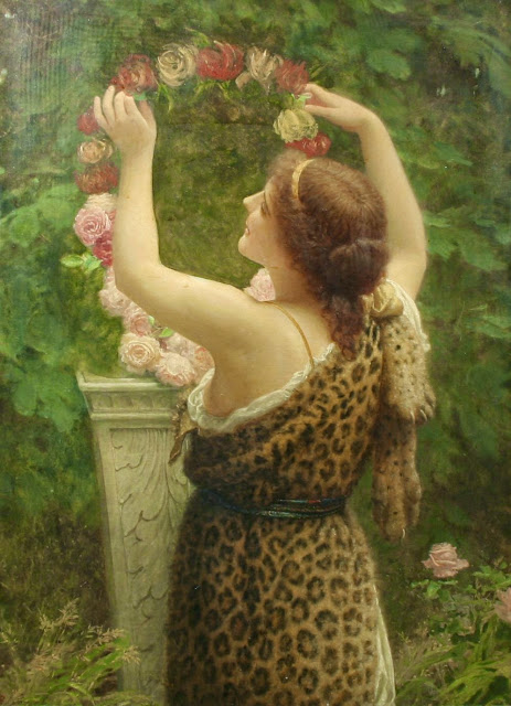 Charles Edward Perugini - Woman with a Floral Wreath in a Leopard Dress