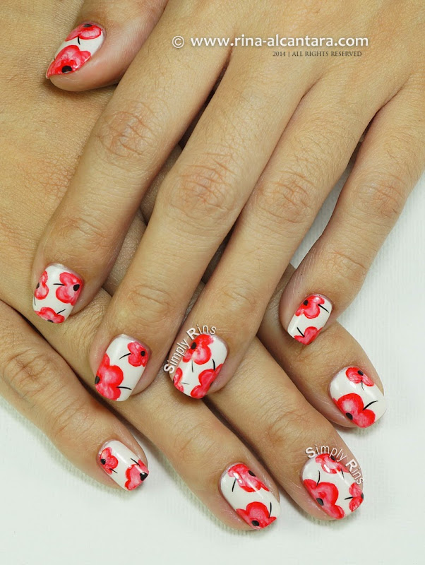 Pretty Poppies Nail Art Design by Simply Rins