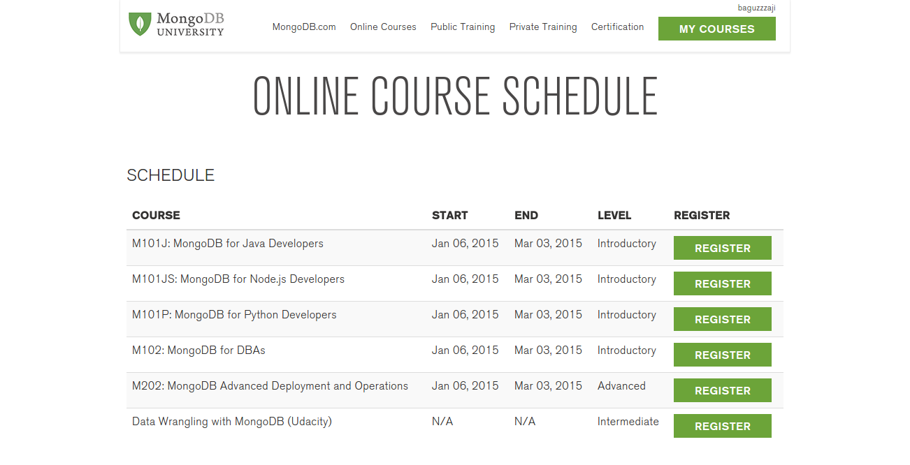 Onlince Course Schedule MongoDB University