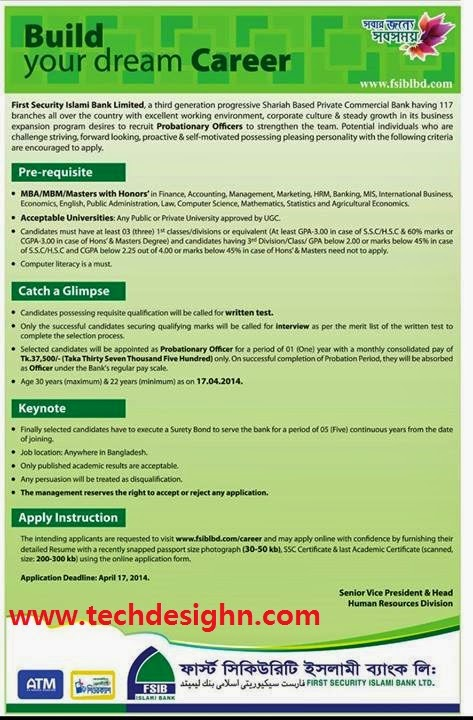 First Security Islami Bank Limited job news