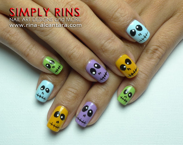 Halloween Colorful Skulls Nail Art Design
