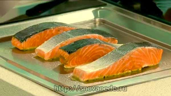 лосось на плоском гриле