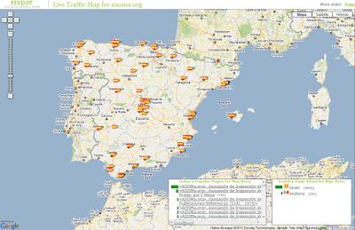 Mapa de los últimos 100 accesos, por su origen geográfico, a nivel peninsular y de Baleares