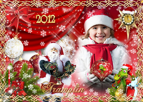 Новогодняя рамка для фото – Дед Мороз несет игрушки, и гирлянды и хлопушки. Хороши подарки, будет праздник ярким
