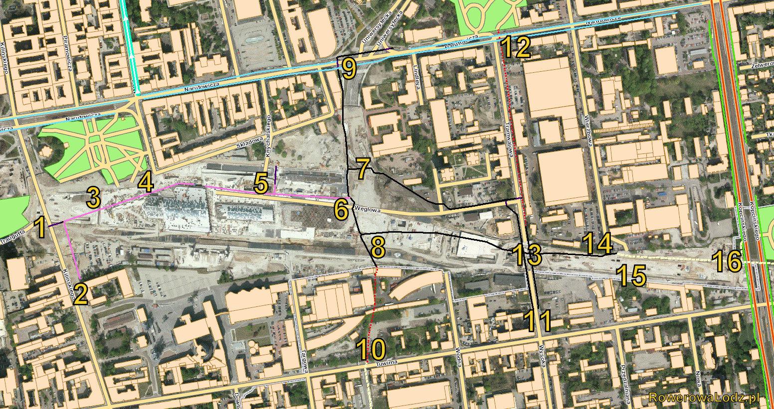 Kolorem czarnym: droga dla rowerów. Kolorem czerwonym: budowana DDR. Kolorem różowym ciąg pieszo-rowerowy z kostki granitowej. Kolor błękitny: jezdnia z sierżantami rowerowymi. Kolorem zielonym: ciągi pieszo-rowerowe wyznaczone na chodnikach z płyt.